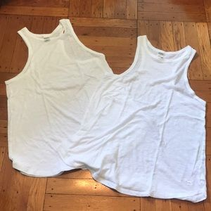 2! Victoria's Secret Pink White T-Back Tank Tops